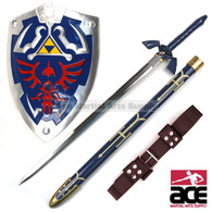 "36"" stainless steel Master Sword, a fiberglass resin and rubber-constructed Hylian shield (25"" x 19""), and genuine leather belt (51"") custom fit to hold Link's Master Sword."