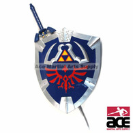 Replica Zelda Hylian shield and sword set combo. Stainless steel sword with resin shield. Removable sword scabbard. Arm strap, handle, and wall chain on shield.