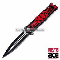 "8.25"" PROTEK PUNISHER STILETTO SPRING ASSISTED KNIFE Folding Blade Pocket Switch, Red"