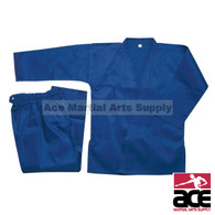 Blue student karate uniform. Breathable polycotton fabric. Includes jacket, pants, and belt.