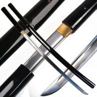 Ace Martial Arts  Handmade Black Shirasaya Samurai Katana Sword