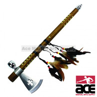 "18"" Tomahawk Hatchet Native Indian Chief Axe Functional Smoking Tabacco Peace Pipe"