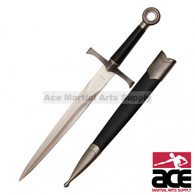 """16"""" Medieval Dagger With Chrome Finish And Black Scabbard"""