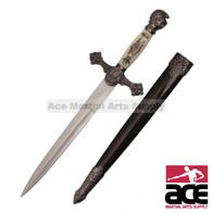 """13.75"""" Scrimshaw Designed Mason Knights of Templar Knights Historic Dagger"""