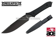 "11.5"" 440 Titanium Blade Survival Tactical Knife with Rubber Handle ABS Sheath"