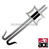 Kung Fu Wu Shu Kabal Silver Steel Hook Swords Set