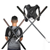 Leonardo Dual Ninja Swords w/ Back Carrying Scabbard