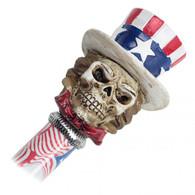 "34"" Skull in Hat Handle Steel Walking Stick Gentleman's Cane - American Flag"