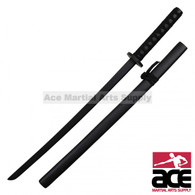 "27"" Black Wooden Practice Sword With Writing On Scabbard"