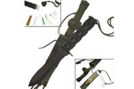 "11"" All Black Survival Knife Half Serrated W/ Sheath (Black)"