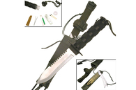 "11"" Survival Knife Half Serrated W/ Sheath (Chrome)"