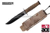 "6"" Drop Point Desert Camo Neck Knife With Sheath"