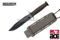 """6"""" Serrated Green Neck Knife With Sheath"""