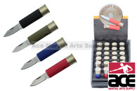 24 Piece Shot Gun Shell Bullet Knives With Display Case Assorted Colors