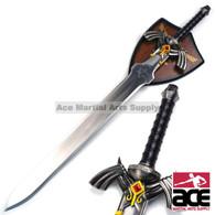 "Stainless steel replica Zelda sword. 38"" Total length. Features decorative, wall-mountable display plaque."