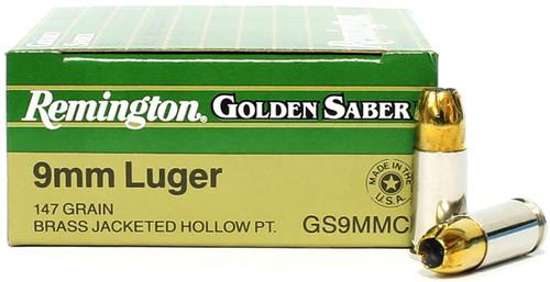 Surplusammo.com   Surplus Ammo 9mm 147 Grain JHP Remington Golden Saber 29422 / GS9MMC