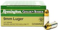 Surplusammo.com | Surplus Ammo 9mm 147 Grain JHP Remington Golden Saber 29422 / GS9MMC