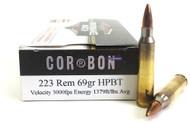 .223 69 Grain Performance Match HP-BT CORBON - 20 Rounds CBPM22369