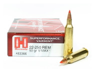 Hornady .22-250 Rem Rifle Ammunition V-Max Hornady Superformance Varmint Ammo 22-250 Remington 83366 Surplus Ammo