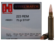 .223 75 Grain BTHP Hornady Steel Match - 50 Rounds