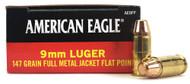 9mm 147 Grain FMJ Federal American Eagle AE9FP - 50 Rounds FDAE9FP