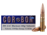 Surplus Ammo 300 AAC Blackout 240 Grain JHP Subsonic Corbon Self Defense Rifle Ammunition Jacketed Hollow Point