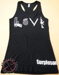 "Surplus Ammo & Arms ""LOVE"" Womens Graphic Tank Top - Racerback"