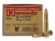 .22 Hornet 35 Grain V-Max Hornady Varmint Express - 25 Rounds