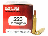 .223 68 Grain Match HP Black Hills - 50 Rounds, NEW Red Box
