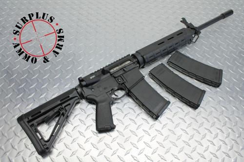 "Surplusammo.com | Surplus Ammo SAA Carbine Match 1:8 SS 18"" BHW Mid-Length YHM Flip Up Sight AR-15 Rifle  5.56 New, Nickel Boron Carrier, 3 Magpul MOE Mags, & Blackhawk Soft Case SAA-15-DRG-NB-MID-BHW18"