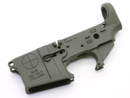 SurplusAmmo.com | Surplus Ammo SAA SA-15 Reticle Logo AR15 Cerakote Stripped Lower Receiver - OD Green SAA-SA15RL-ODG