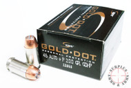 Surplus Ammo 45 ACP +P 200 Grain Gold Dot HP Speer LE