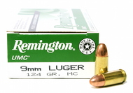 Surplus Ammo, Surplusammo.com  9mm Luger 124 Grain MC (FMJ) Remington UMC Ammunition