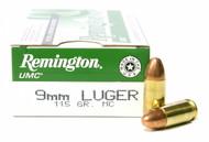 Surplus Ammo, Surplusammo.com 9mm 115 Grain MC (FMJ) Remington UMC Pistol Ammunition