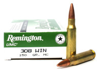 308 Win 150 Gr MC (FMJ) REMINGTON UMC L308W4 - 20 Rounds RML308W4