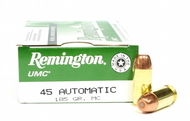 Surplus Ammo 45 ACP 185 Grain MC (FMJ) Remington UMC Pistol Ammunition Brass Metal Cartridge Full Metal Jacket