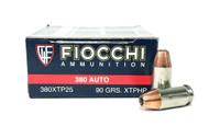 Surplus Ammo, Surplusammo.com 380 Auto 90 Grain XTP JHP Fiocchi Ammunition FIO380XTP