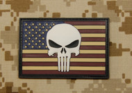 US Flag with 3D Punisher Velcro Morale Patch Surplus Ammo Glow In The Dark Skull