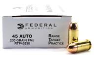45 ACP 230 Grain FMJ Federal Range.Target.Practice Ammunition - 50 Rounds FDRTP45230