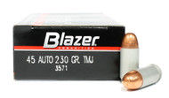 Surplus Ammo, Surplusammo.com 45 ACP 230 Grain TMJ CCI Blazer Brass Ammunition