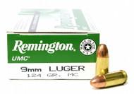Surplus Ammo, Surplusammo.com  9mm Luger 124 Grain MC (FMJ) Remington UMC Ammunition