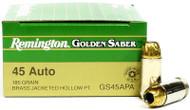45 ACP 185 Grain JHP Remington Golden Saber - 25 Rounds RMGS45APA / 29444