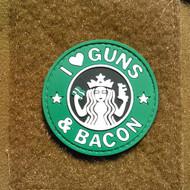 I Heart Guns & Bacon - PVC Morale Patch S Buck Style Coffee Gun Bacon Velcro Patch Surplus Ammo