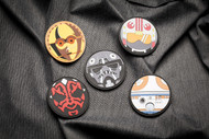 Limited Edition SW Patch Set C3PO, Darth Maul, Tie Fighter Pilot, Rebel Pilot, Sphero Droid Star Wars Parody - PVC Morale Patch Velcro 5 Patch Set Surplus Ammo