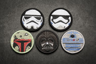 Limited Edition SW Patch Set R2-D2, Darth Vader, Storm Trooper Type VII, Storm Trooper & Boba Fett Star Wars Parody - Embroyered Morale Patch Velcro 5 Patch Set Surplus Ammo