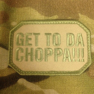 Get to the Choppa - embroidered velcro morale patch Arnold Schwarzenegger quote from the movie Predator surplusammo.com