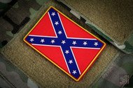 Confederate Battle Flag - Yellow PVC Morale Velcro Patch Surplus Ammo