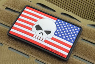 SAA 3D USA Flag Skull PVC Morale Patch - Right Sleeve