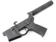 "Surplusammo.com | Surplus Ammo SAA - BA-15 Billet ""Skull"" Logo AR15 Complete Lower with Pistol Tube SAA-BILSKMOE-PL"