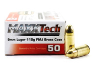 Surplus Ammo | Surplusammo.com 9mm Luger 115 Grain FMJ MAXXTech Brass Cased PTGB9MMB